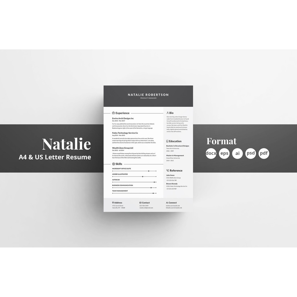 [Promo] Corporate Business CV Resume Cover Letter Volume 1 Template Word