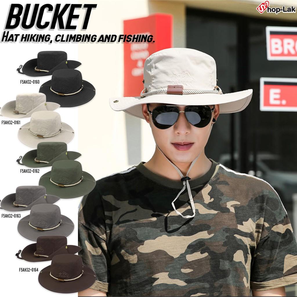 หมวก BUCKET เดินป่าคาดเชือกกลมปักลาย