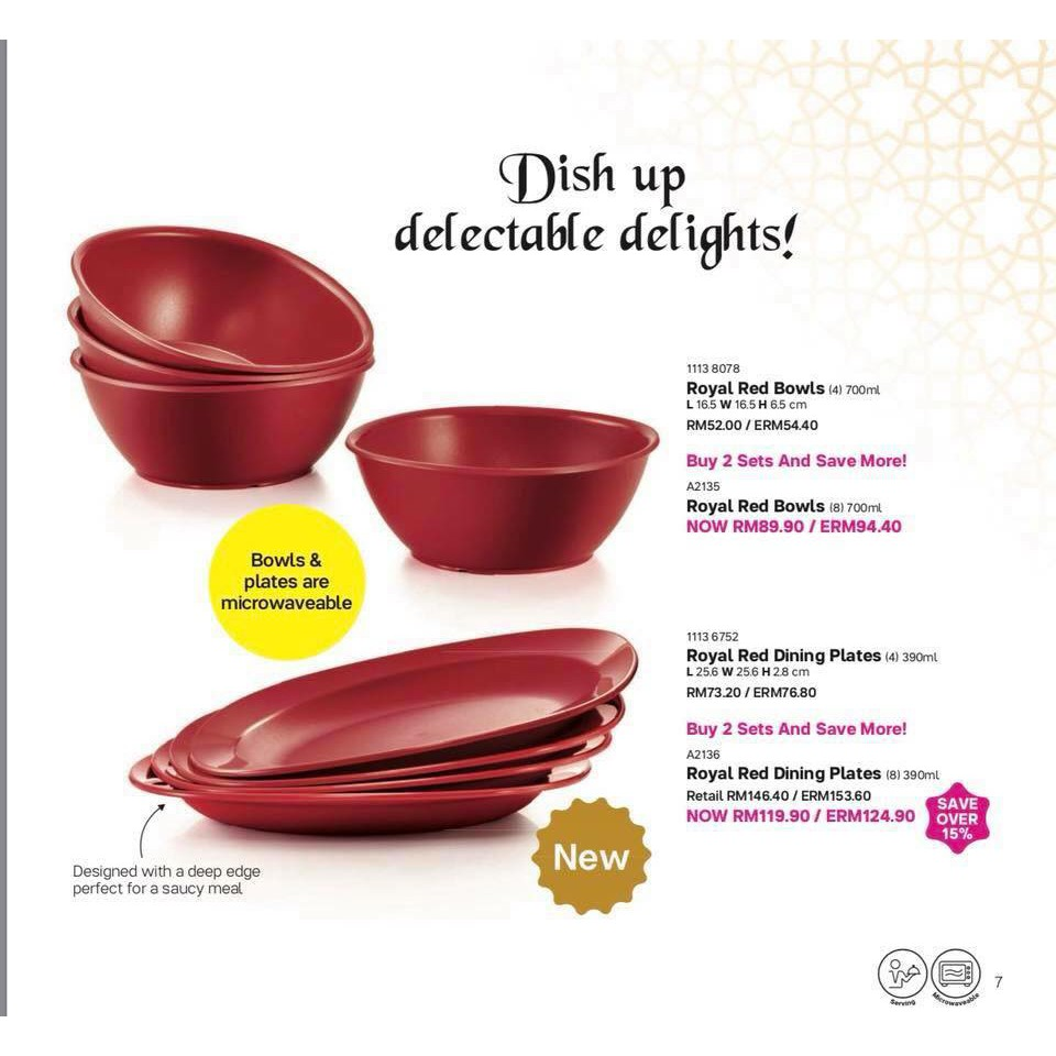 Tupperware Royal Red bowl and plates (microwaveable)