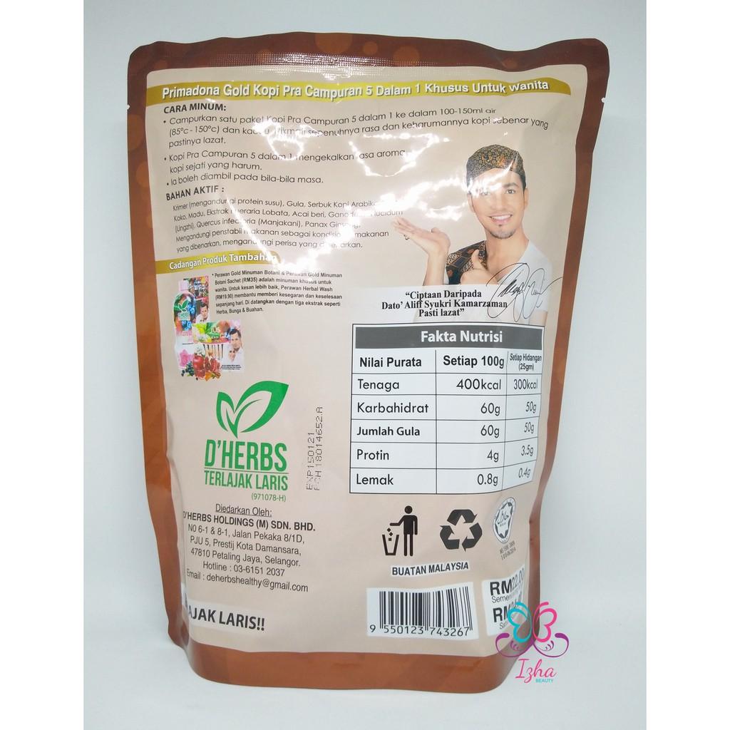 [D'HERBS] Primadona Gold Coffee 5in1 - 10 sachet x 25g