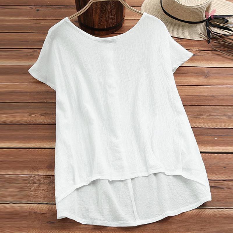 Ethnic Women Plus Size Blouse Solid Irregular Low High Hemline Batwing Sleeve Loose Vacation Wear