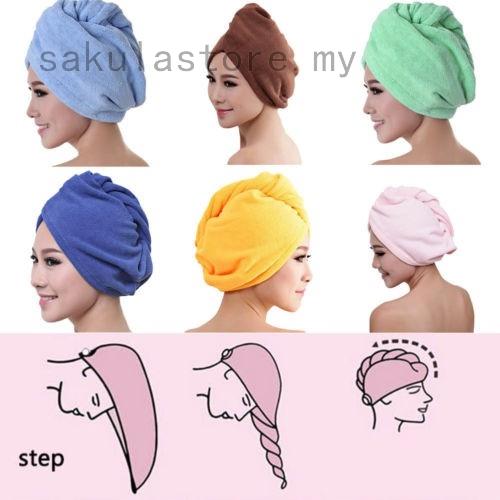 1pcs Shower Cap Bathing Strong Microfiber Water Absorbing Dry Hair Towel Wrap