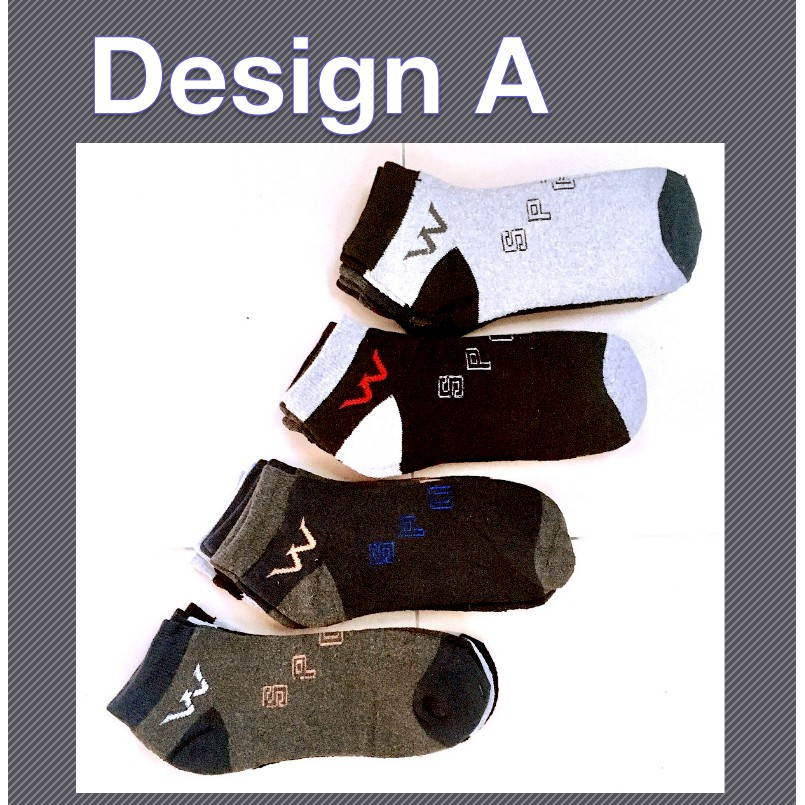 Sports Short Thick Comfortable Casual Unisex Cotton Low Cut Socks W and Liner Design