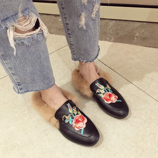 ... Women s Shoes Heels Others 2018 autumn and winter new fashion wear  versatile port wind rose embroidery outdoor lazy baotou hairy half slippers.  like  0 a898283be194