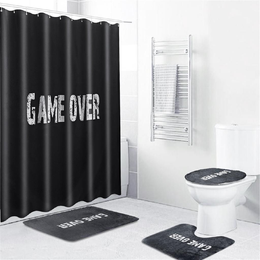 1 3 4pcs Black Printed Bathroom Decor Shower Curtain Toilet Cover