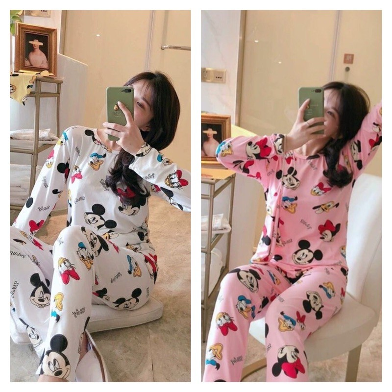 [READY STOCK] WOMEN LONG SLEEVE & LONG TROUSER SLEEPWEAR PYJAMAS SET WITH MICKEY & MINNIE DESIGN - FREE SIZE