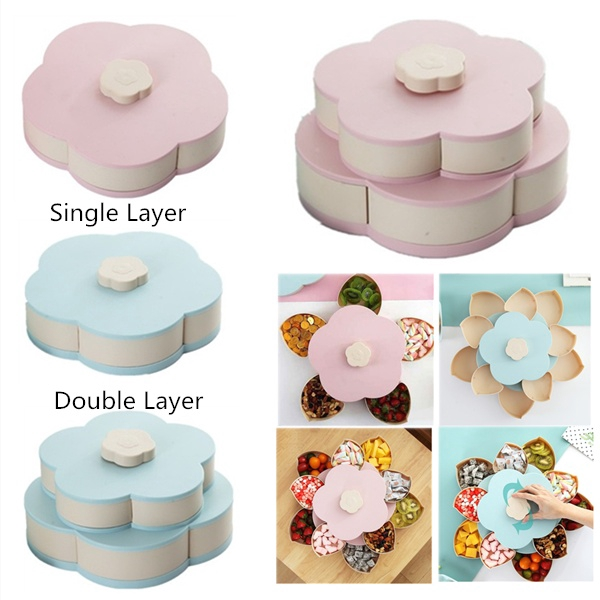 Malay Wedding Food: Petal-Shape Rotating Snack Box Creative Rotating Candy Box