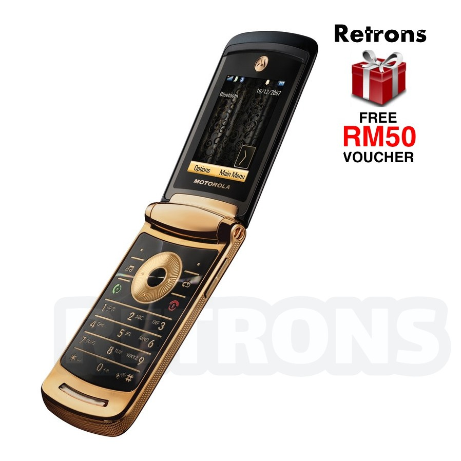 🇲🇾 Original Motorola V8 Luxury Edition 2GB RAZR Gold Premium Slim Flip Phone + [1 Month Warranty] FREE RM50 Voucher