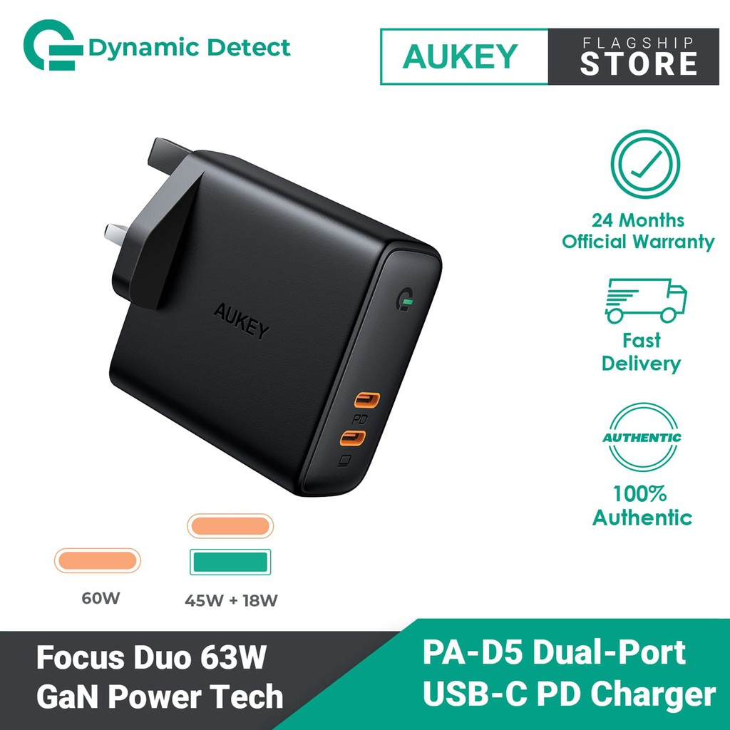 USB C Power Delivery Charger with Dynamic Detect (63W) PA-D5