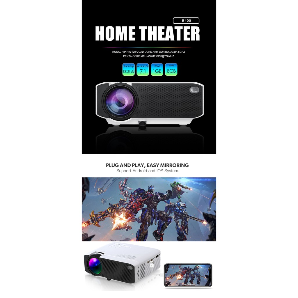 b841268512e659 Smart Projector Portable Mini Wifi Malaysia Wireless Home Cinema Android 1G  8G | Shopee Malaysia