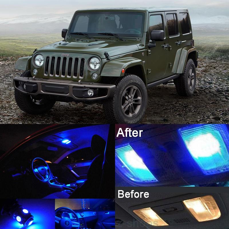 Blue LED Interior Kit Blue License Light LED For Jeep Wrangler JK 2007-2017