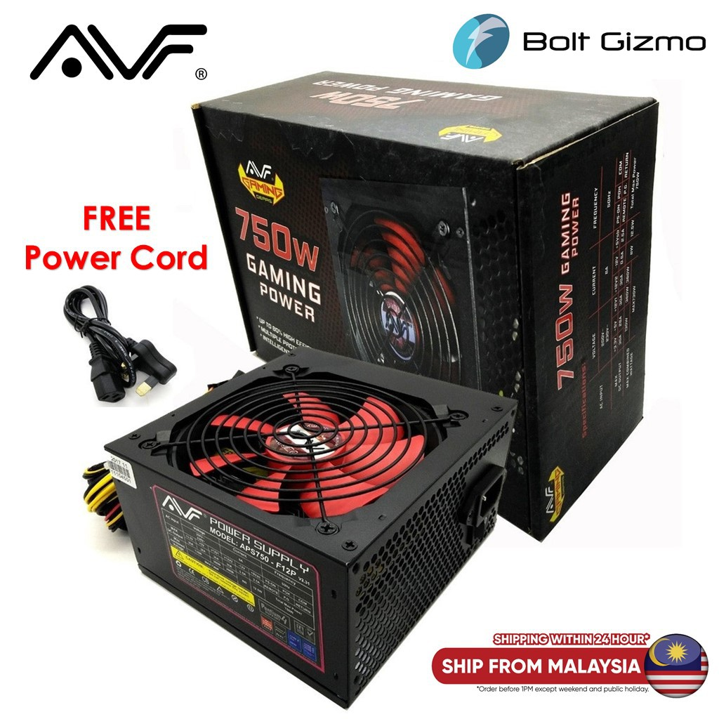 AVF Gaming Power 750W Power Supply with PCI-E 6pin (APS750-F12P)