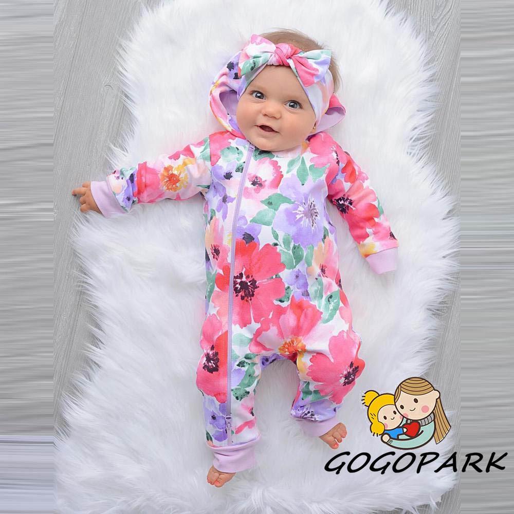 d33d582caeace Newborn Infant Baby 💕Hooded Romper Floral Jumpsuit Clothes Outfits Set