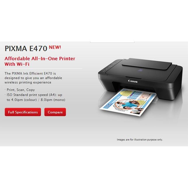 CANON PIXMA E470 INKJET COLOUR PRINTER, PRINT SCAN COPY WIFI ALL IN ONE  PRINTER