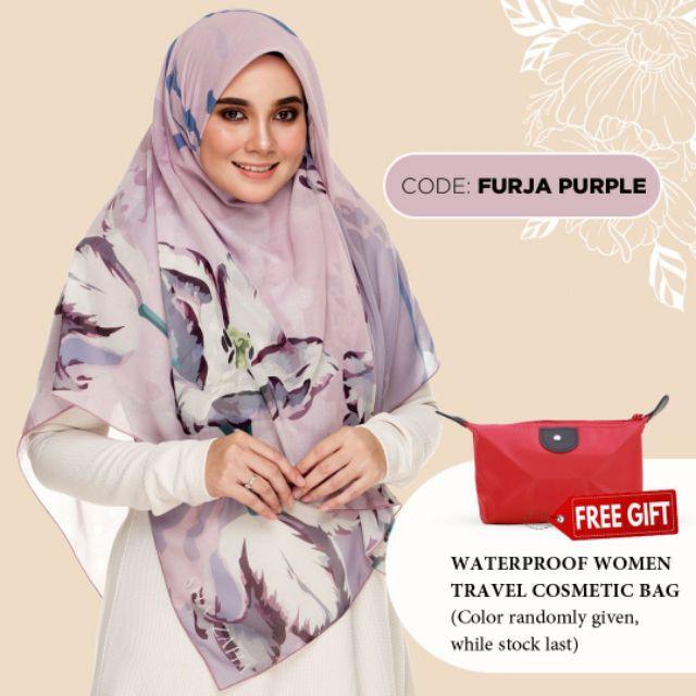 Bawal NUQ by SHAZAHA | Bawal Printed Premium Cotton Voile Bidang 55 | Modern Hijab | Flowy | Easy To Wear