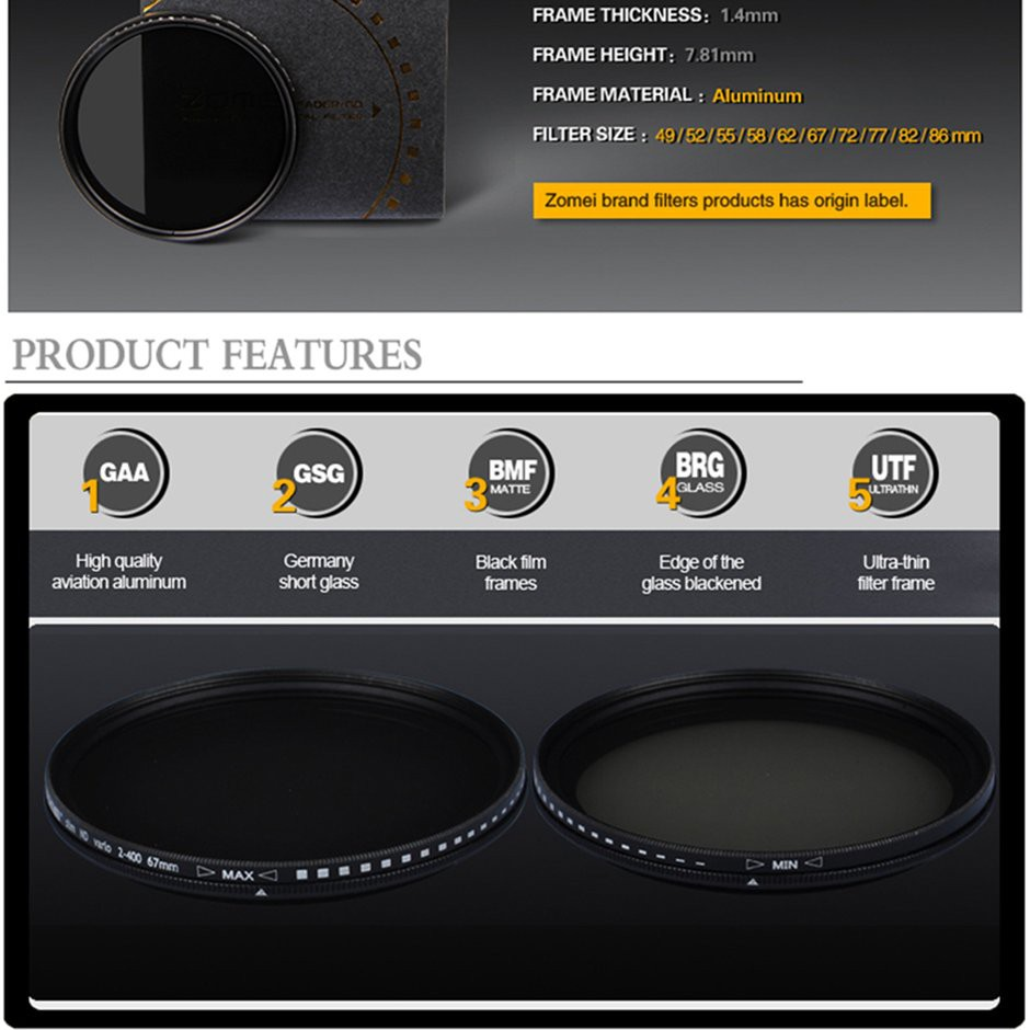 Zomei Slim Abs Adjustable Neutral Density Fader Filter Fading Nd Variable 2 400 Nd2 To Nd400 67mm 67 Mm Fotga Control Shopee Malaysia