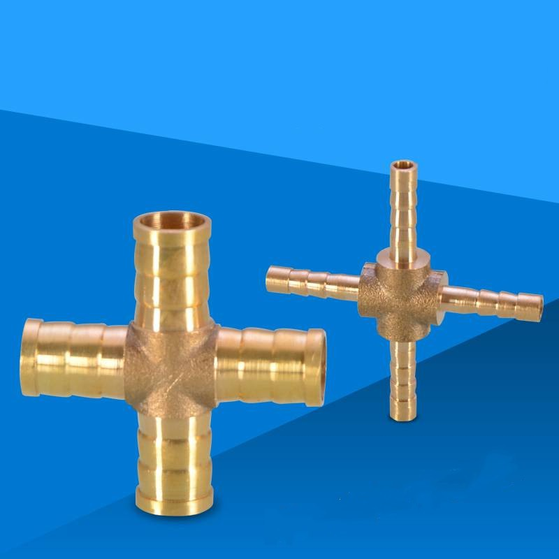 4mm Brass Hose Tail Barb Fitting 4 way Cross Connector For Hose Joiner Adapter