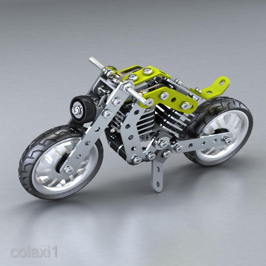 158pcs Stainless Steel Harley Motorcycle Building Blocks Educational Kids Toy