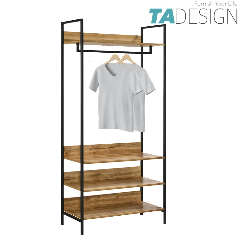 TAD NORMAD industrial deisng big garment rack with shelves – oak