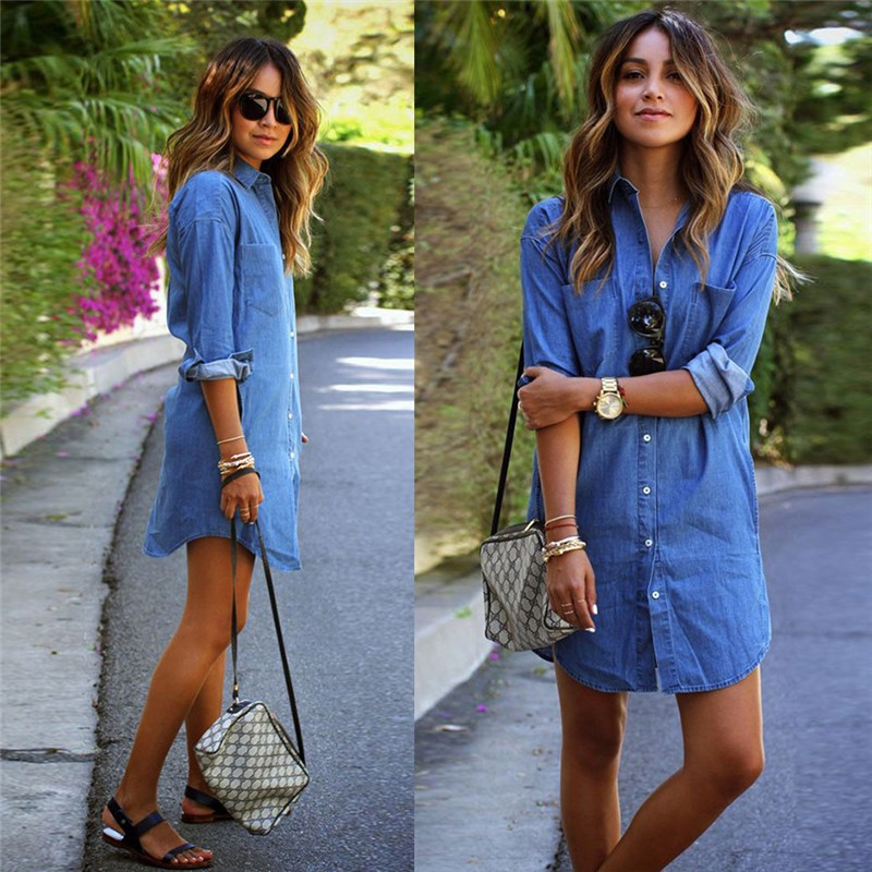 dc78cc8db8d Fashion Women S Jeans Denim Pocket Long Sleeve T-Shirt Loose Shirt Mini  Dress