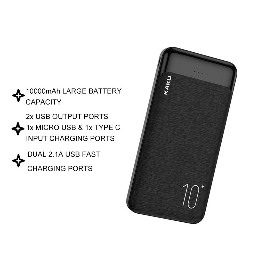 IKAKU KAKU YUNENG Powerbank 10000 mAh 2.1A 12W Dual USB Output Fast Charge Type C Micro USB Input Smartphone Android Use