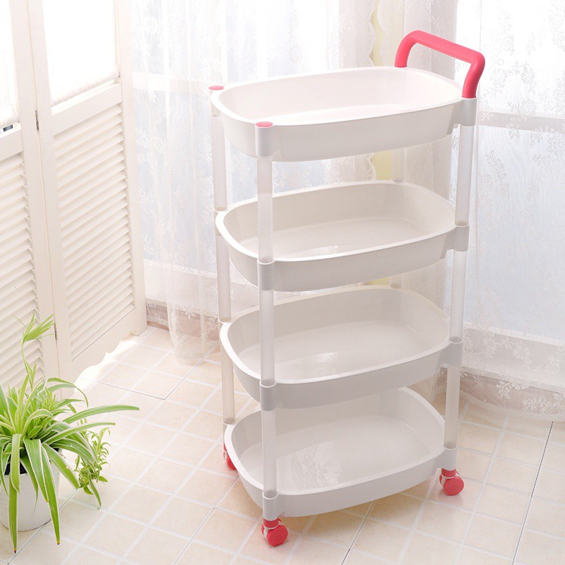 GDeal Four Layer Storage Rack Trolley Home Storage Organizer Shelf Bathroom Storage With Wheels