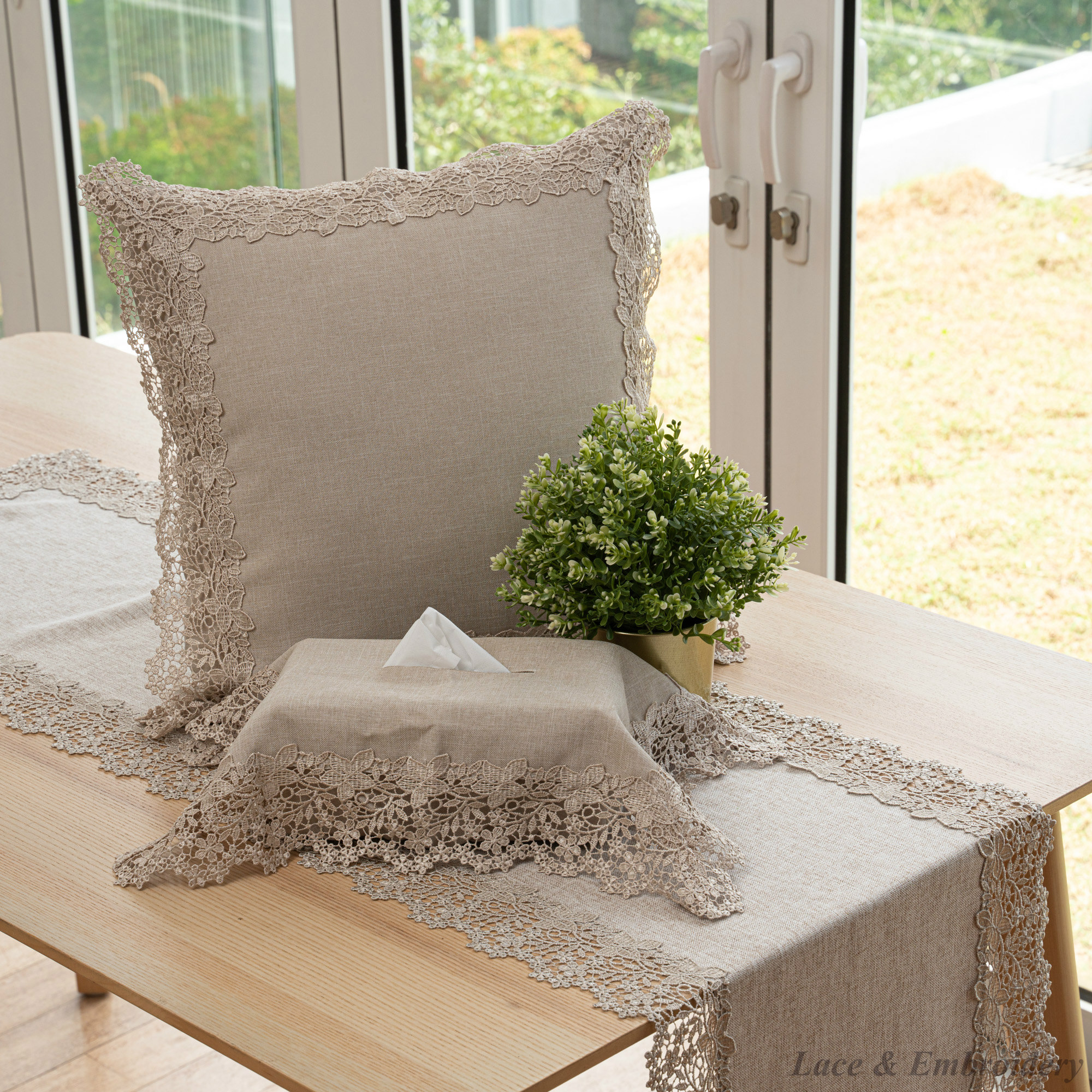 """Guipure Lace Square Cushion Cover/Throw Pillow. With 8cm Floral Lace Edges. 45x45/18x18"""".  ST702 (Stone Brown)."""