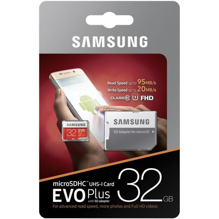 Samsung 32GB EVO Plus Grade 3 MicroSDHC Memory Card Class 10 w/adaptor MB-MC32GA