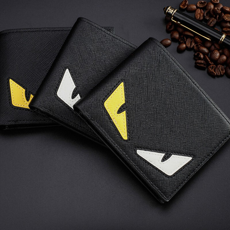 cdea4faf Smileofen Fendi Monster Eyes Anime Bifold Leather Wallet Credit Card Holder  Purse Clutch