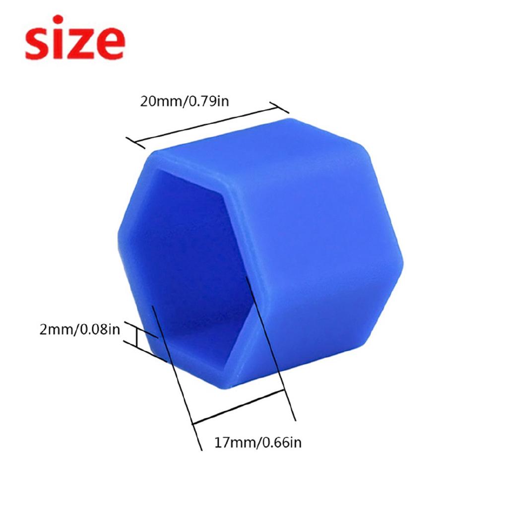 Blue, 17mm Andux Land Wheel Lug Nut Covers Silicone20PCS LSBHT-01