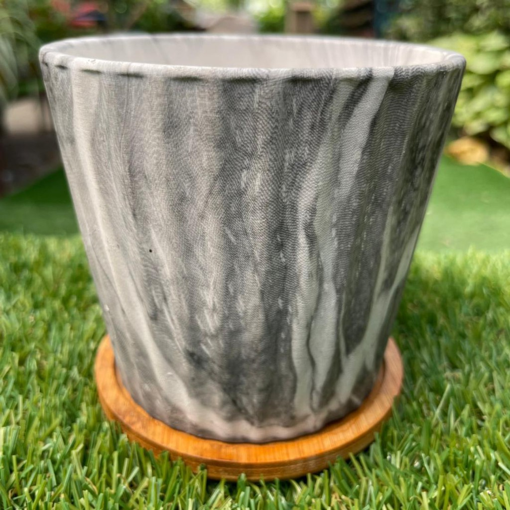 [IGL] Flower pot colourful marble series 10cm x 9(W)cm ceramic pot line pattern