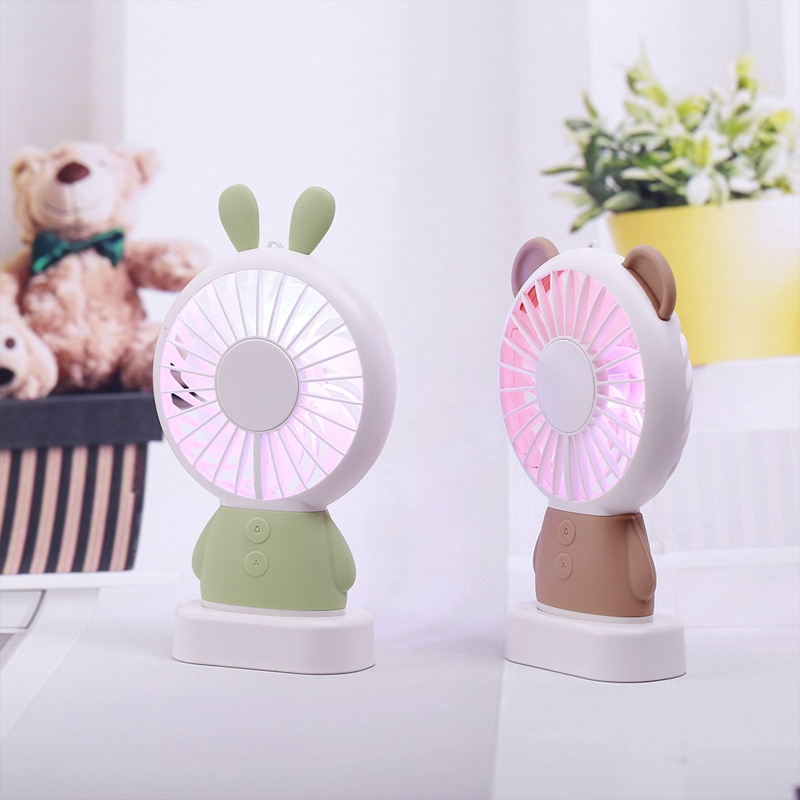 Fan Air Rechargeable Mini Portable Hand Fan Battery Operated USB Power Handheld Fan Cooler with Strap,Pink Rabbit