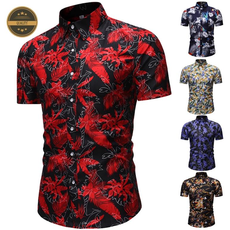 Summer Men's New Short Sleeve Shirt 5 Colors Fashion Casual Floral Shirt Breathable Baju Kemeja Lelaki Ready Stock!!