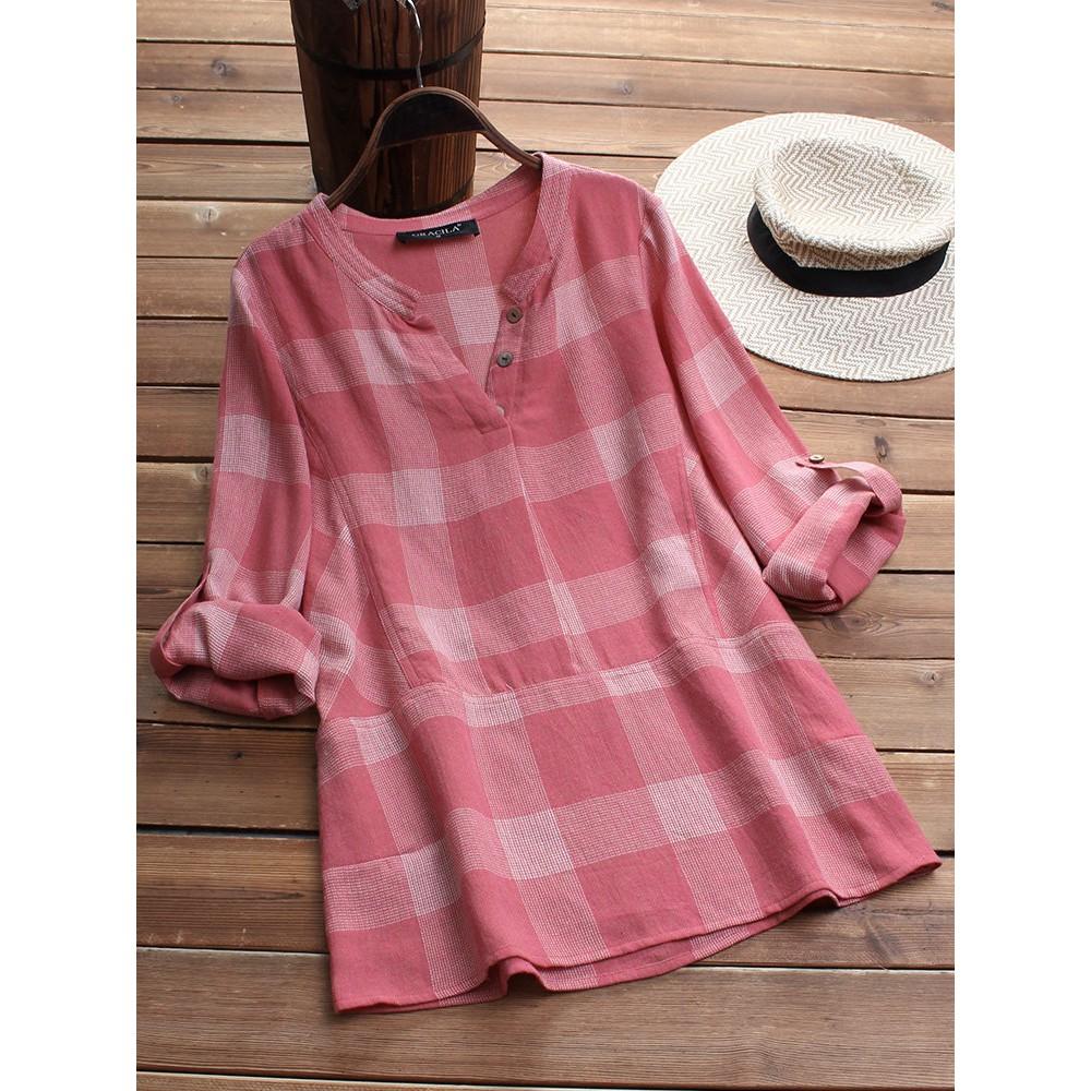 62d9ee9e3fed5 ProductImage. ProductImage. Women Plaid Print Patchwork Long Sleeve Shirt  Plus Size Casual Blouses Tops