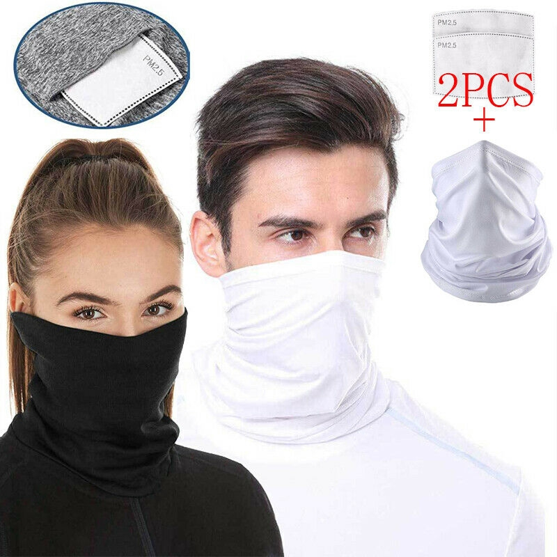 Multifunctional Headwear Bandana Cycling Neck Scarf Snood Balaclava Face Scarf Headband Bandanas Face Cover Riding Tube Scarf for Men Women 2PCS Neck Gaiter with 20PCS Filters