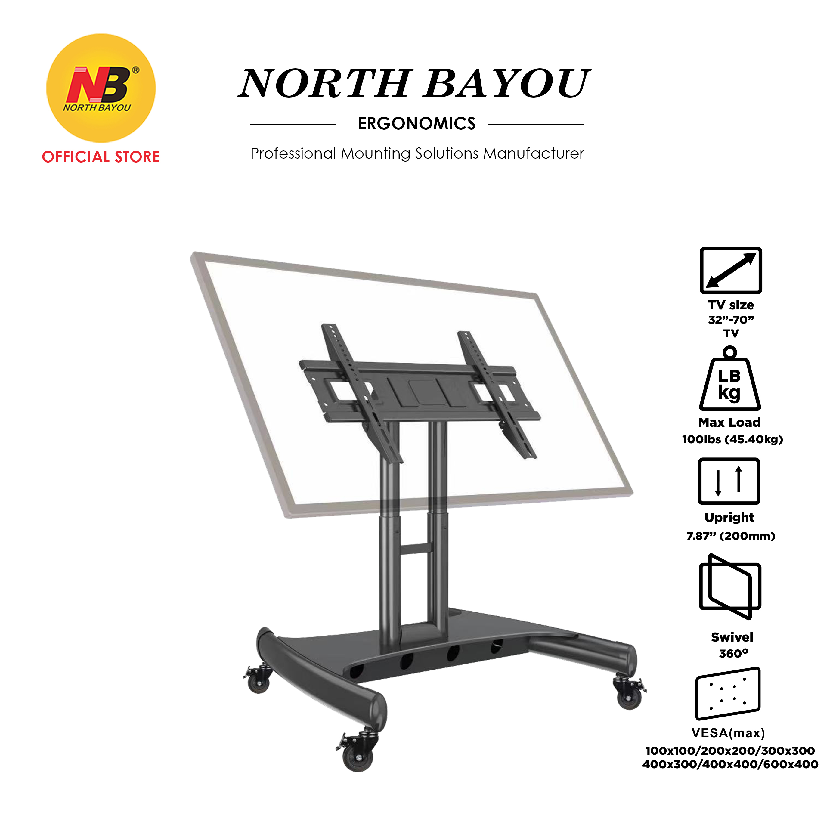 """NB North Bayou AVA50 Mobile TV Cart for 32-70"""" LED Touch Screen TV Stand for All-in-One Computer Portrait Screen"""