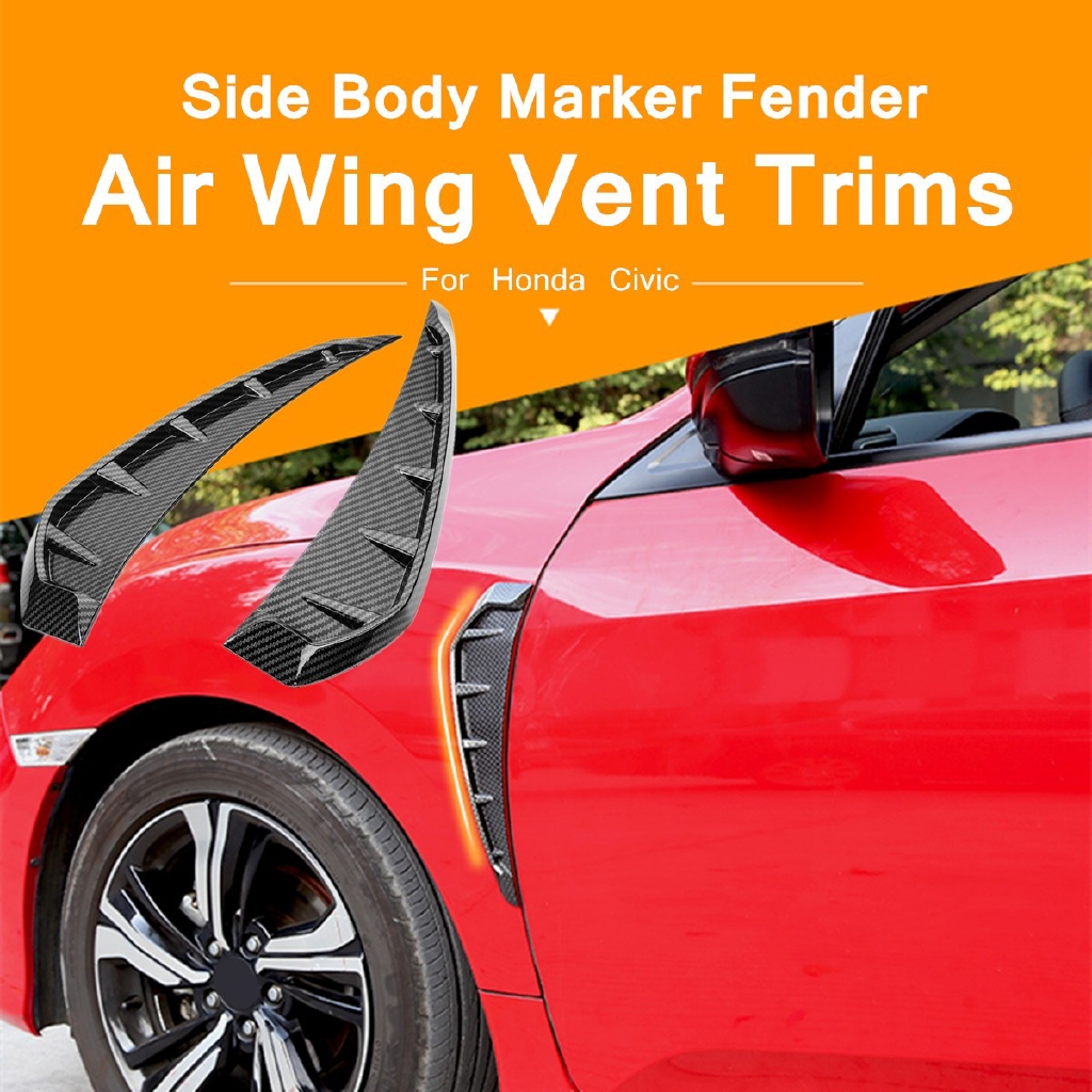 1 Pair Front Fender Side Cover Trim For 2016 2017 10th Honda Civic Air Vent  Look