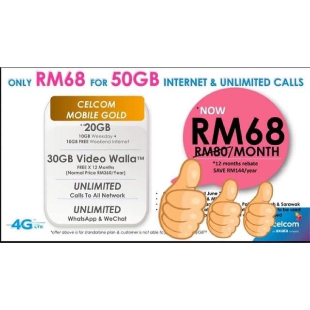 Register Celcom Mobile Gold 68 -50GB ( Blacklist Terima Terma & Syarat)