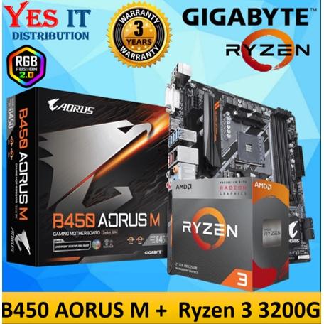 Combo Set Gigabyte B450 Aorus M Matx Motherboard Amd Ryzen 3 3200g Processor Shopee Malaysia