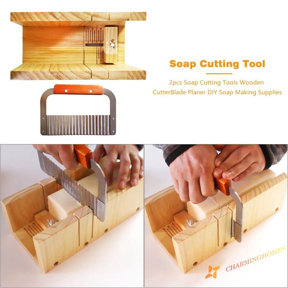 Wooden Silicone DIY Soap Making Mold With 2pcs Metal Cutter Cutting Tools