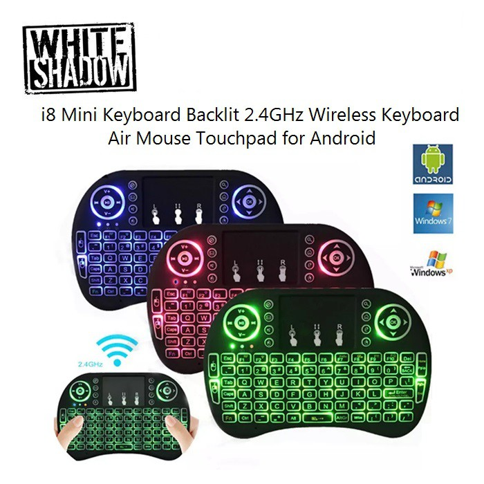 i8 Mini Keyboard Backlit 2 4GHz Wireless Keyboard Air Mouse Touchpad for  Android