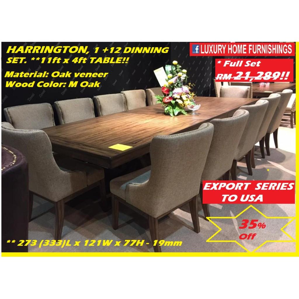 Harrington,  Solid Oak Veneer SERIES, 1 +12 dinning SET,  FACTORY DIRECT OFFER!! EXPORT TO USA!! RM 21,289!! 35% Off!