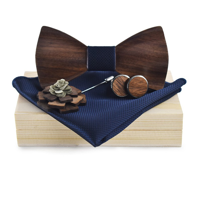 5a5b1dfd3de84 Classic Handmade Mens Wood Bow Tie with Matching Pocket Square Men's  Cufflinks | Shopee Malaysia