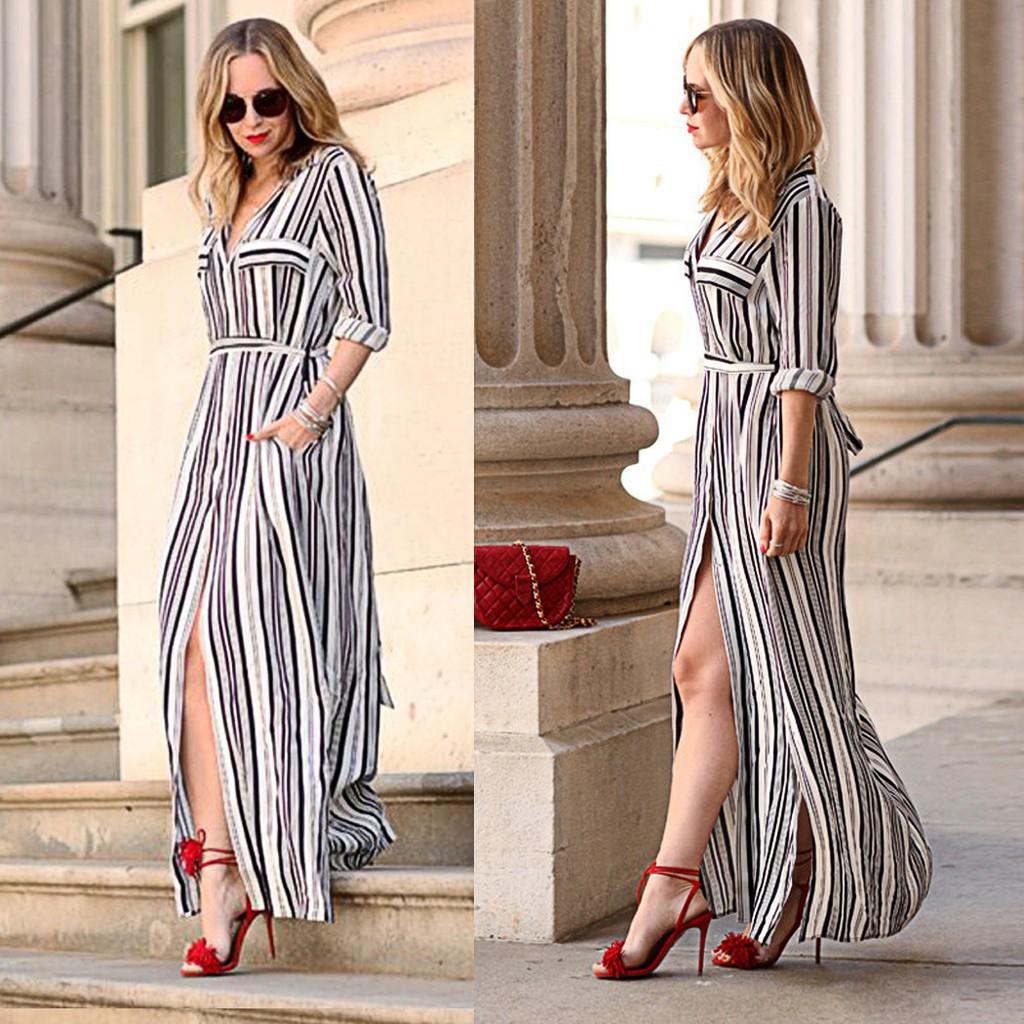 49568f070d ProductImage. ProductImage. Fanala Long Chiffon Dress Slit Striped ...