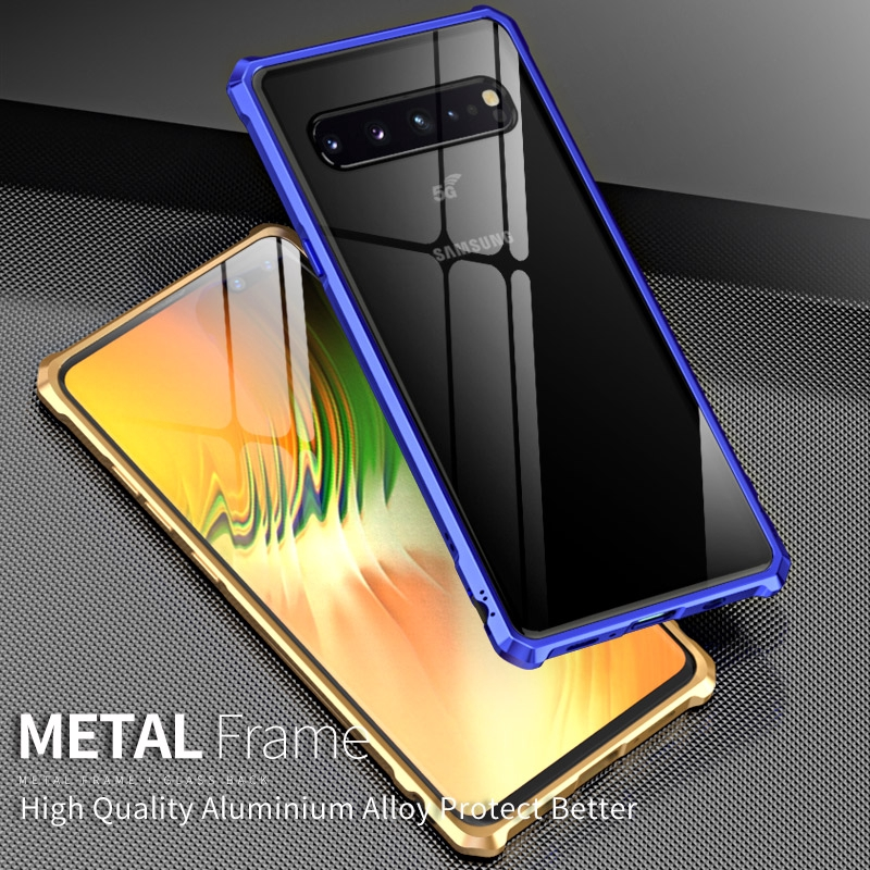Samsung Galaxy S10 5G Metal Bumper Hard Case Clear Tempered Glass Back cover