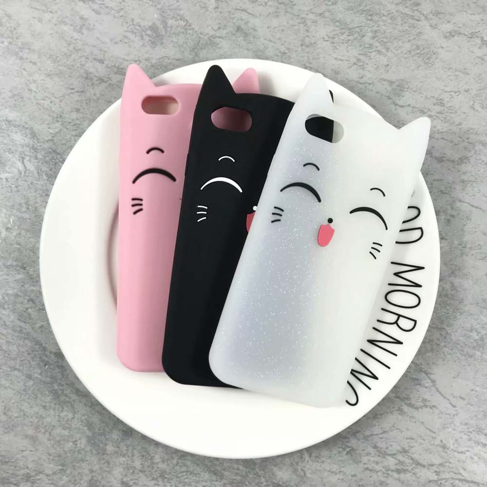 b8cffbf085a1f6 ProductImage. ProductImage. iPhone 5 5S SE 6 6S 7 8G 3D cartoon Cute Cat  Soft Silicone Cover ...
