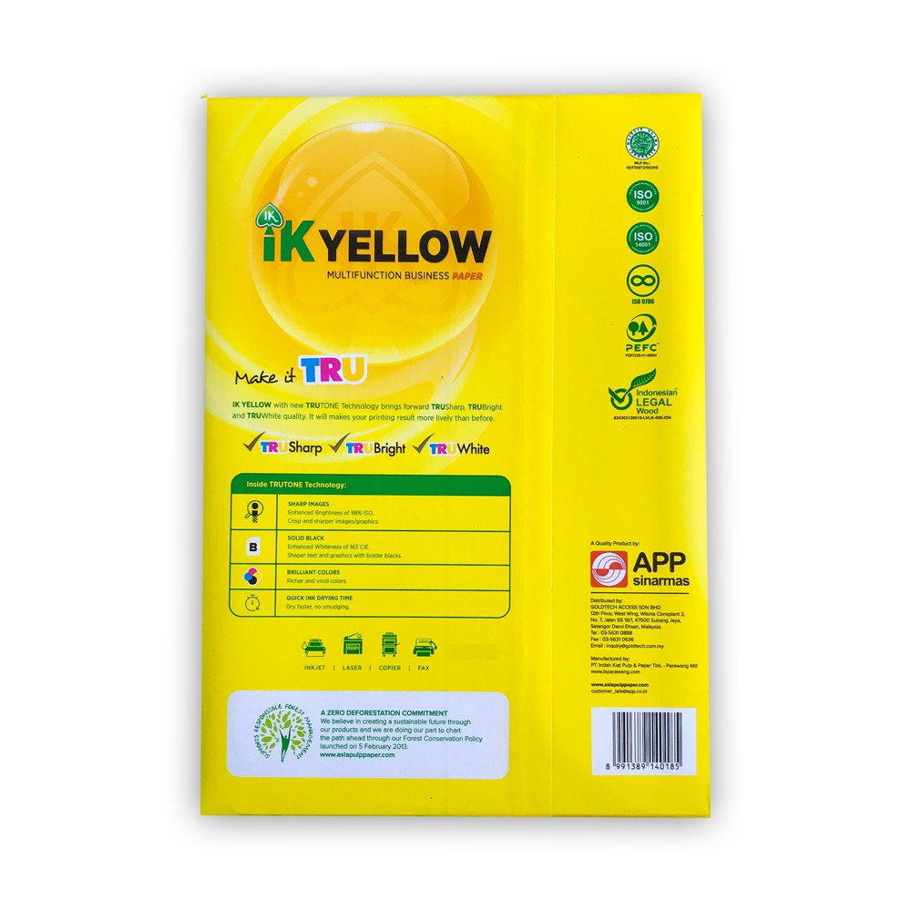 IK YELLOW MULTIFUNCTION BUSINESS A4 PAPER 70G (500sheets) | Shopee