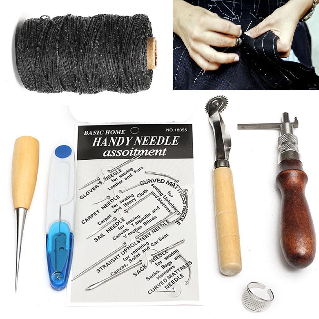 7PCS/Set Leather Craft Thread Awl Waxed Thimble Kit Hand Stitching