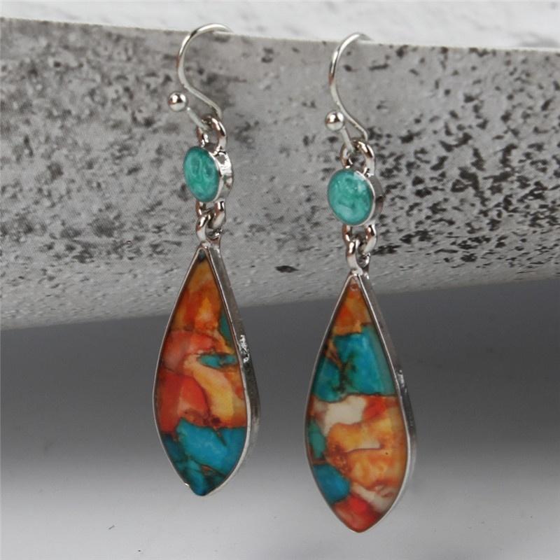 Vintage Bohemian Boho Multi Color Beads Fringe Drop Dangle Hookie Long Earrings