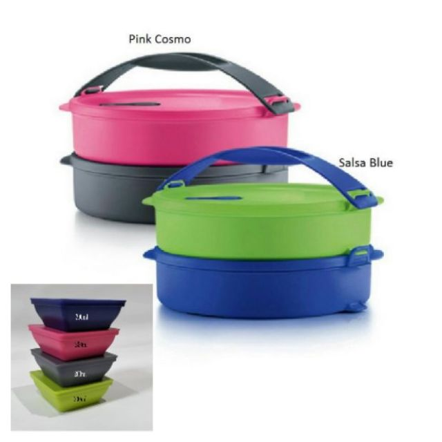 Tupperware Microwaveable Round Click To Go Duo Set With Zen Square Small
